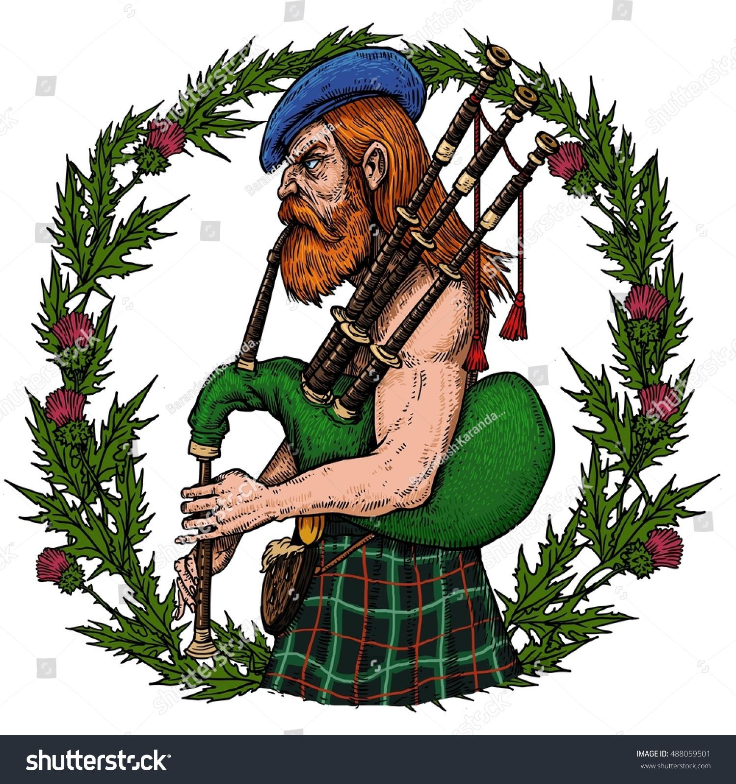 Scottish Bagpiper Playing Bagpipes Circle Scottish Stock