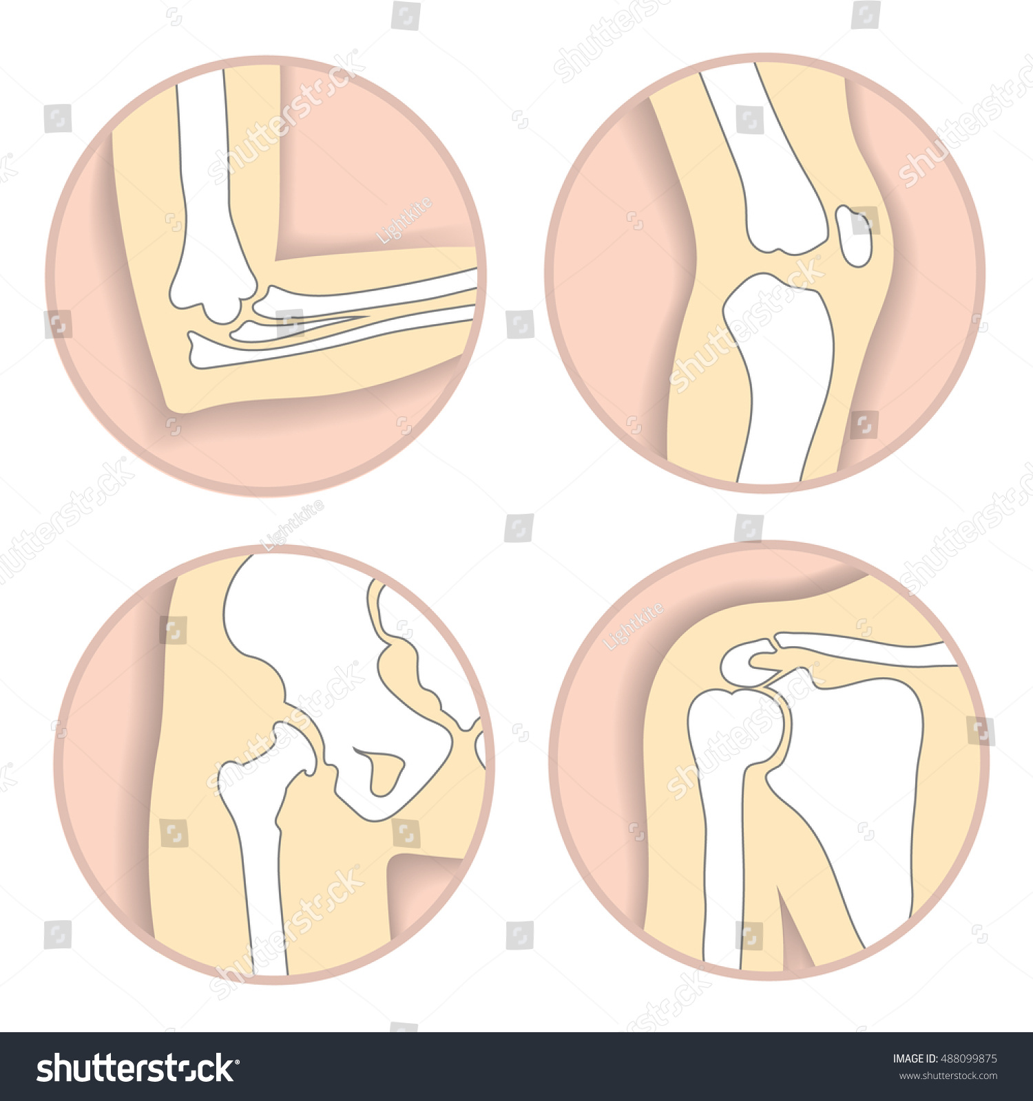 Set Human Joints Elbow Knee Joint Stock Vector Royalty Free