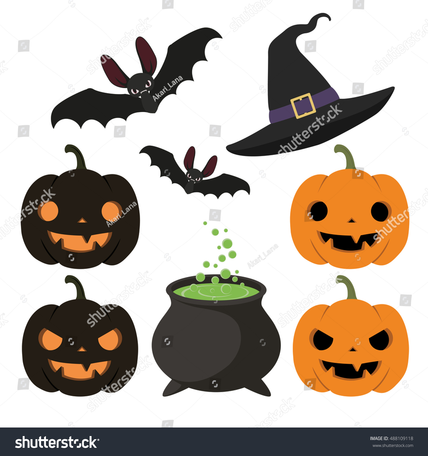 set of halloween items hat bat cauldron with potion pumpkin - Halloween Items