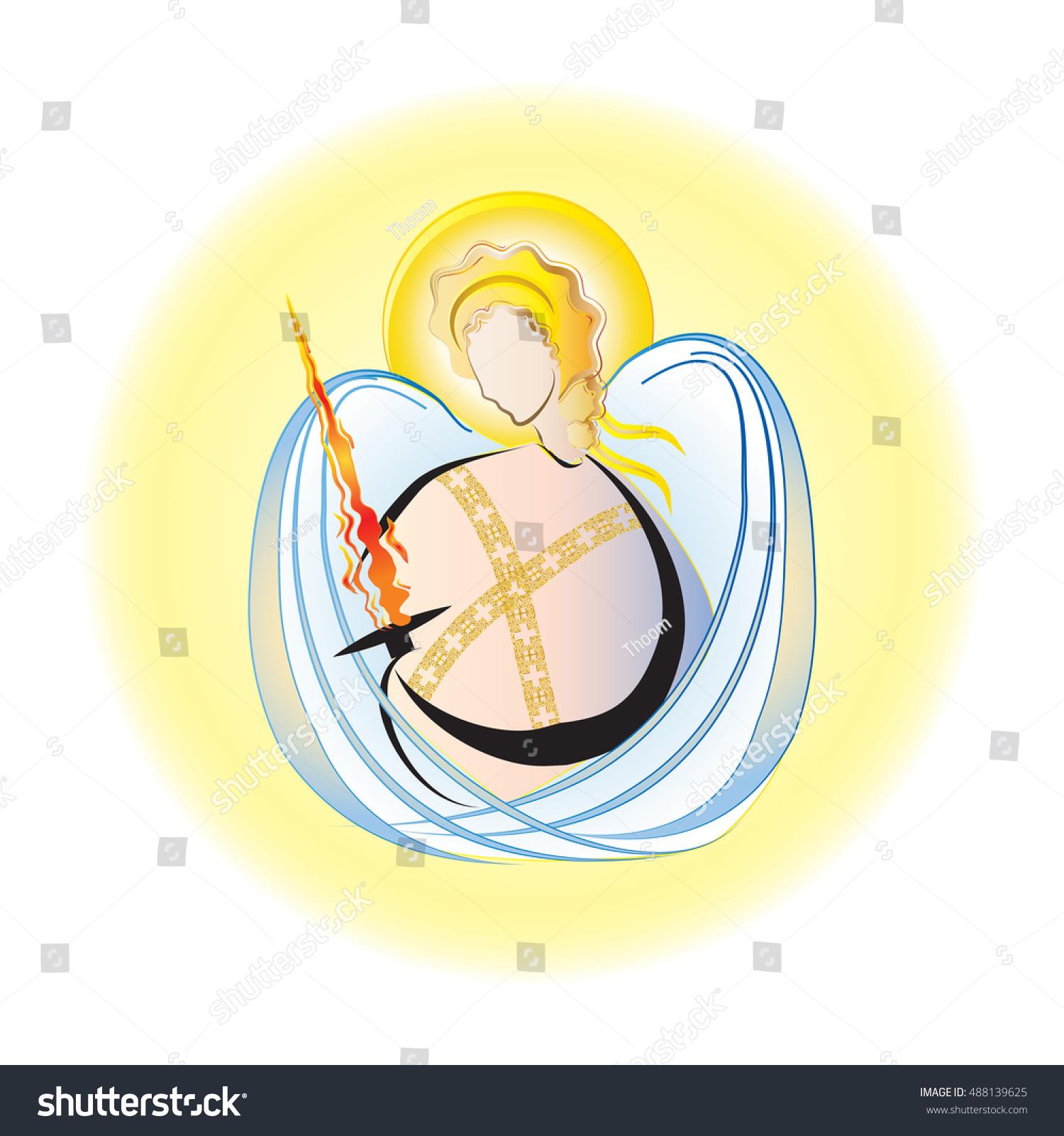 Archangel Michael Angel Archangel Flaming Sword Stock Vector