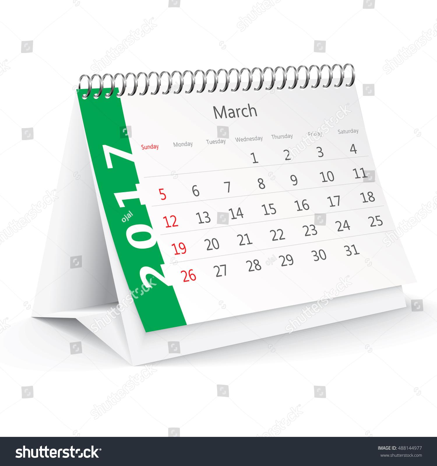 Calendar Illustration Board : March desk calendar vector illustration stock