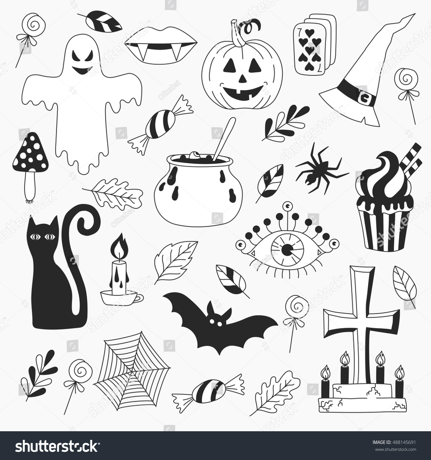 Hand Drawn Halloween Drawings Symbols Collection Stock Vector ...