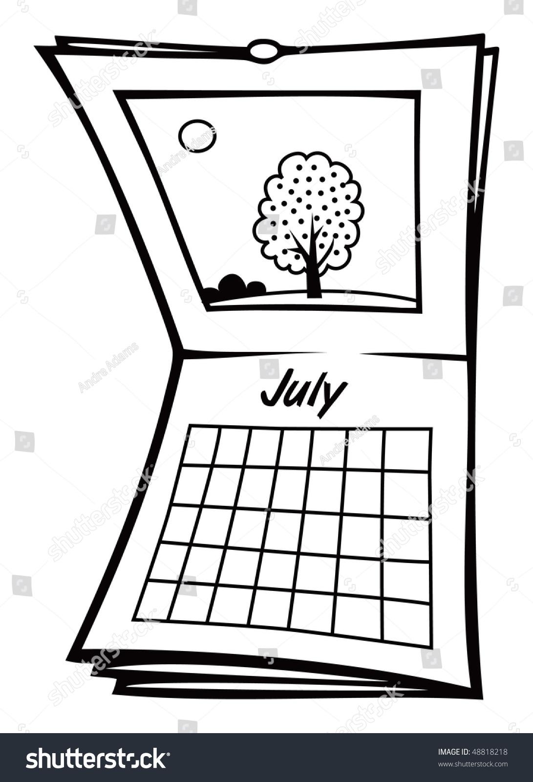 cartoon vector outline illustration july calendar stock vector