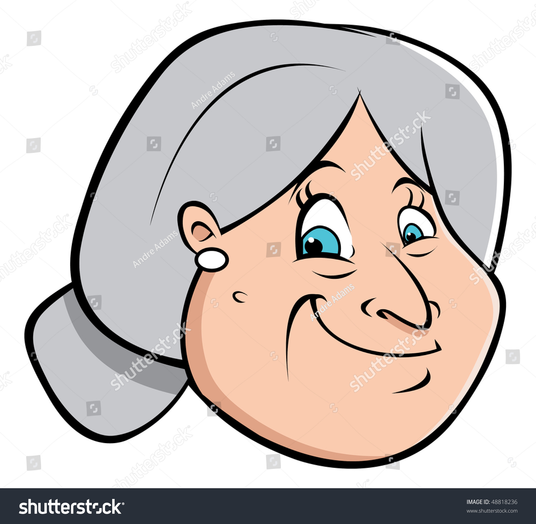 Cartoon Vector Illustration Old Lady Hair Stock Vector ...