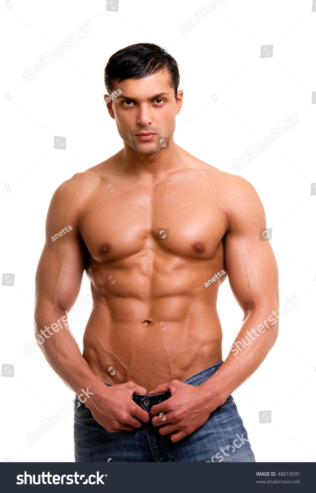 Beautiful Man Muscular Body Isolated On Stock Photo (Royalty Free ...
