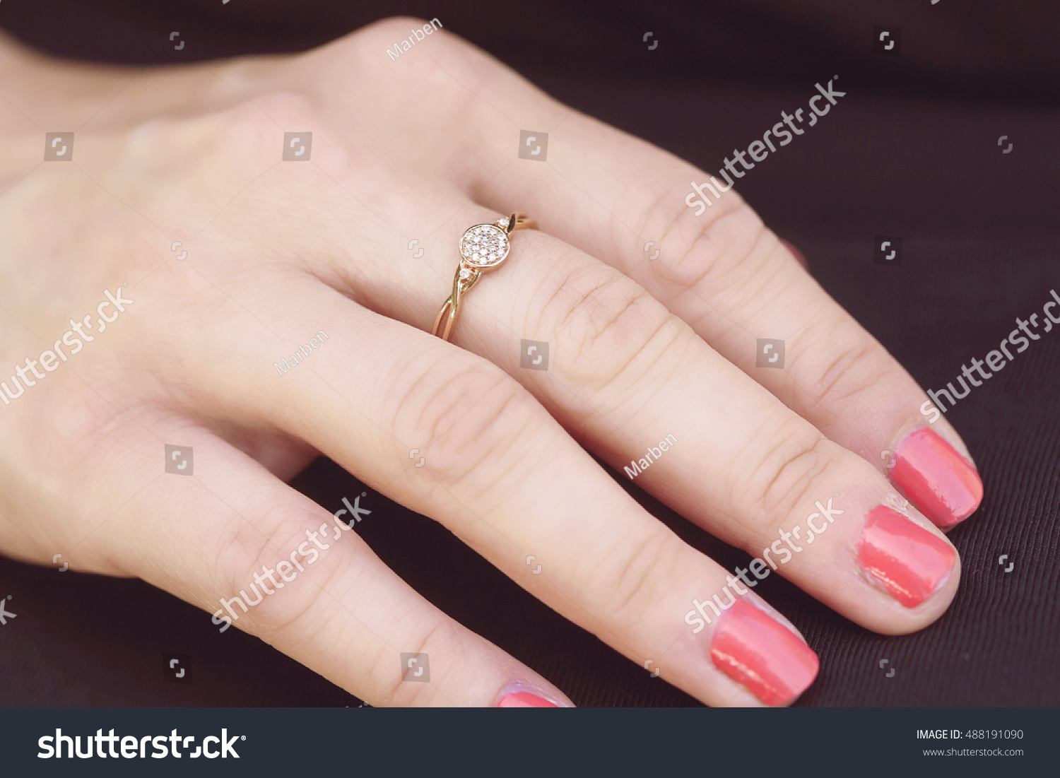 Womans Hand Beautiful Engagement Ring Stock Photo (Royalty Free ...