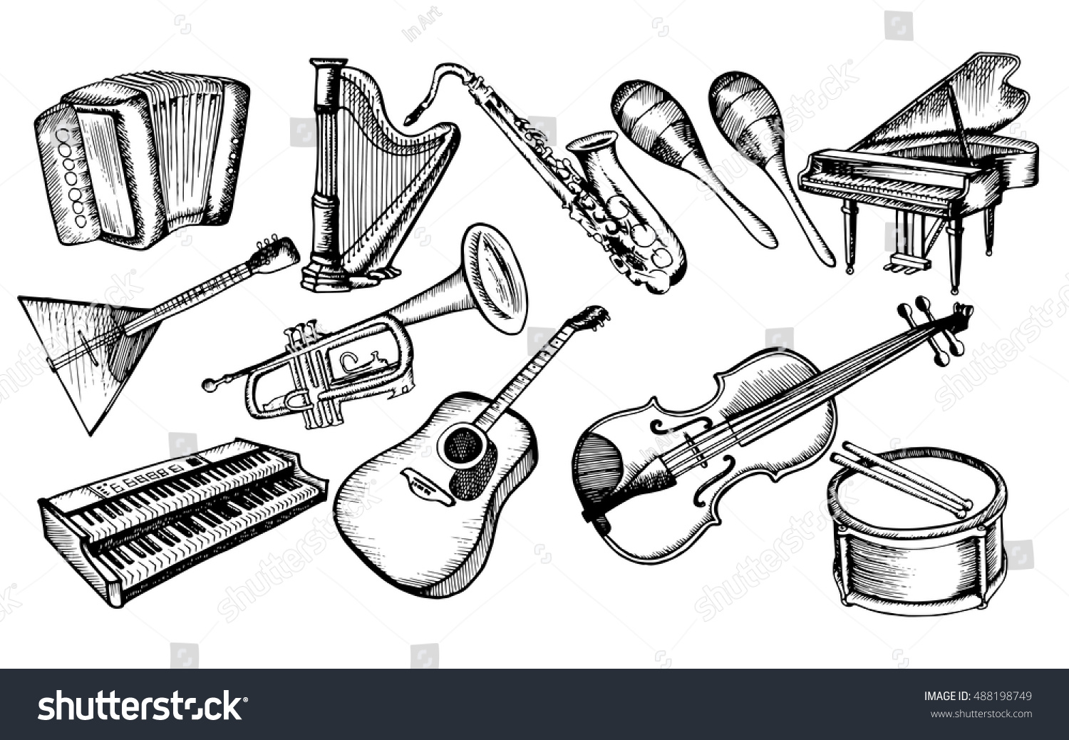 The Collection Of Musical Instruments Stylized Set Piano Violin