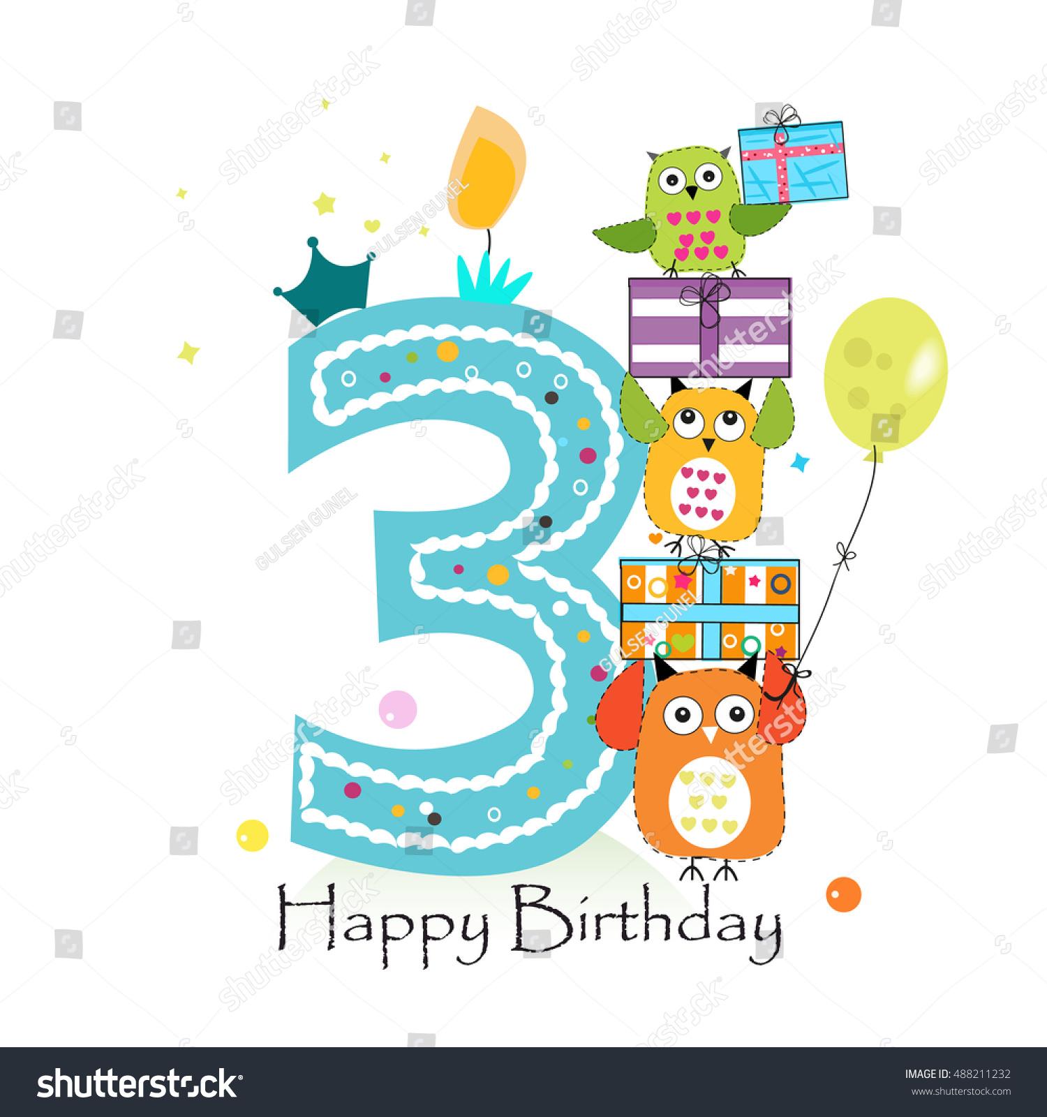 Happy Third Birthday Owls Gift Box Stock Vector 488211232 Shutterstock