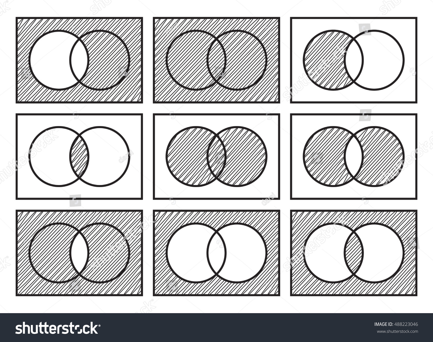 Sets theory basic operations venn diagrams stock vector 488223046 sets theory basic operations venn diagrams isolated on white background pooptronica