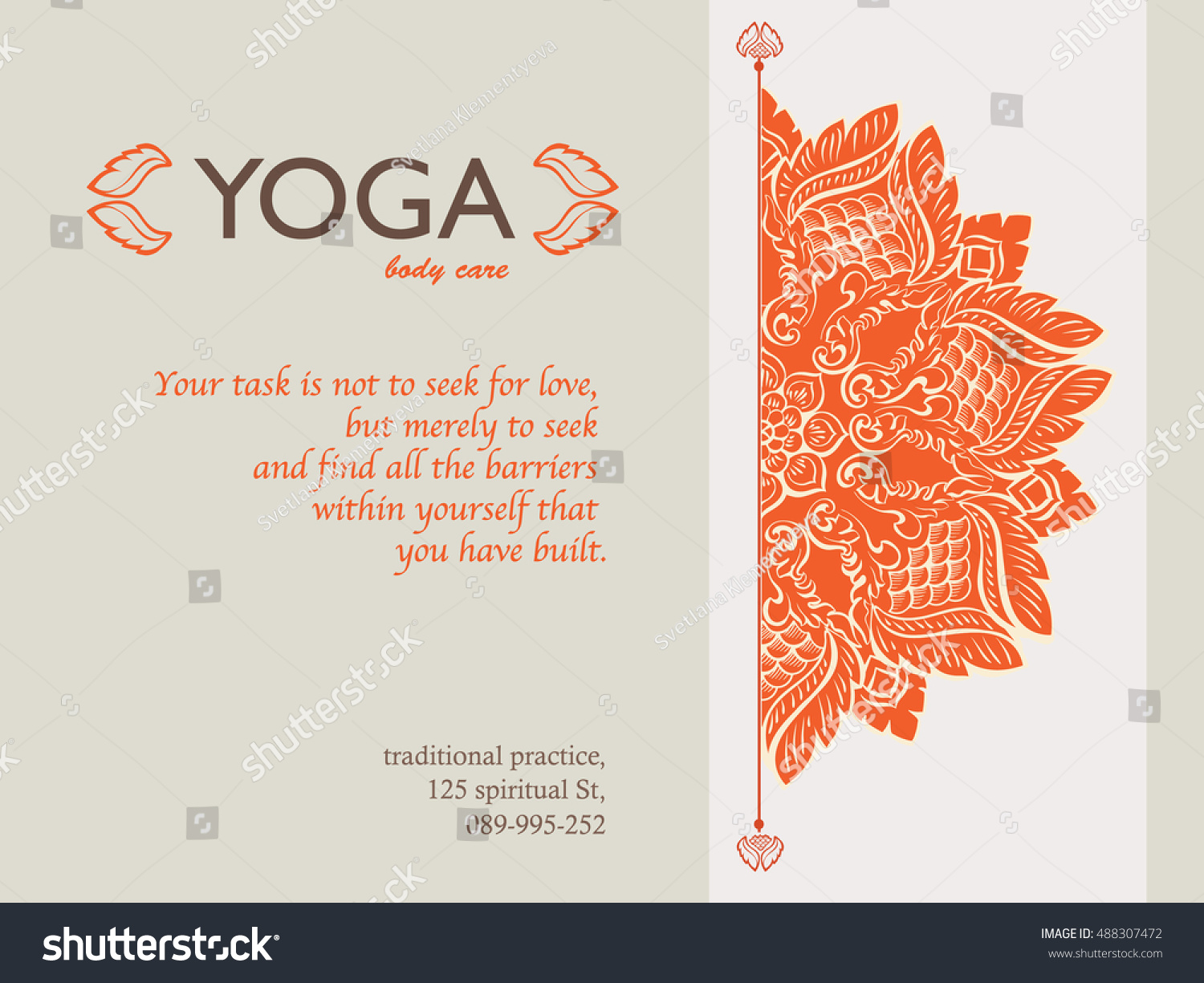 Yoga Gift Certificate Template Mandala Text Stock Vector 488307472 ...