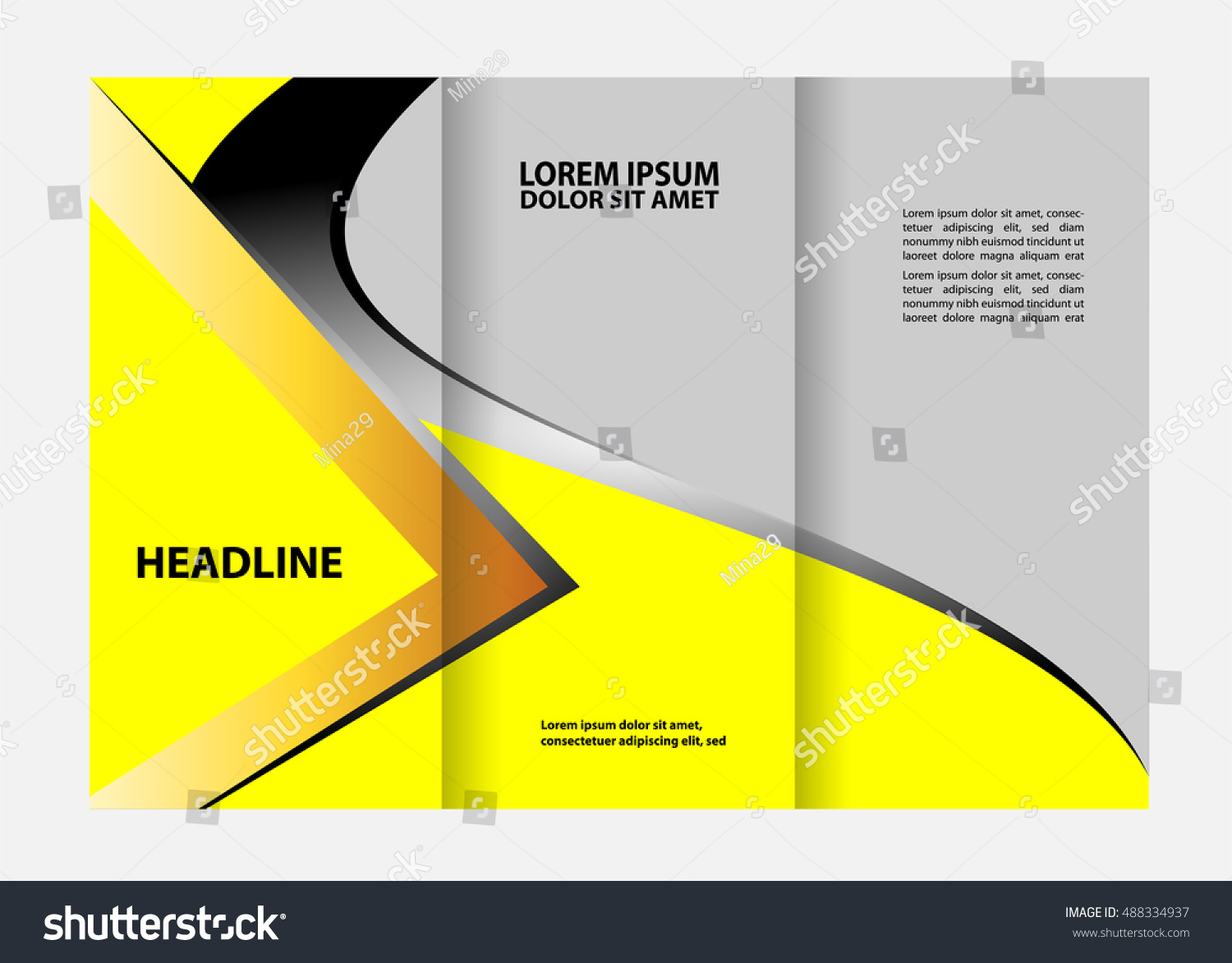 brochure design template vector trifold abstract のベクター画像素材