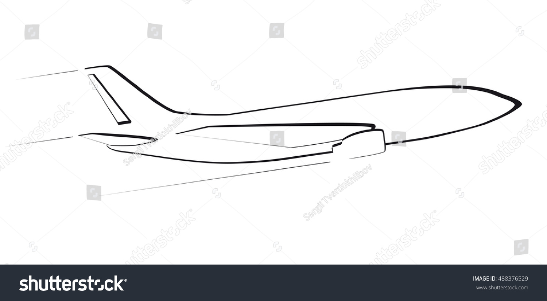 contour modern jet aircraft side view stock vector 488376529