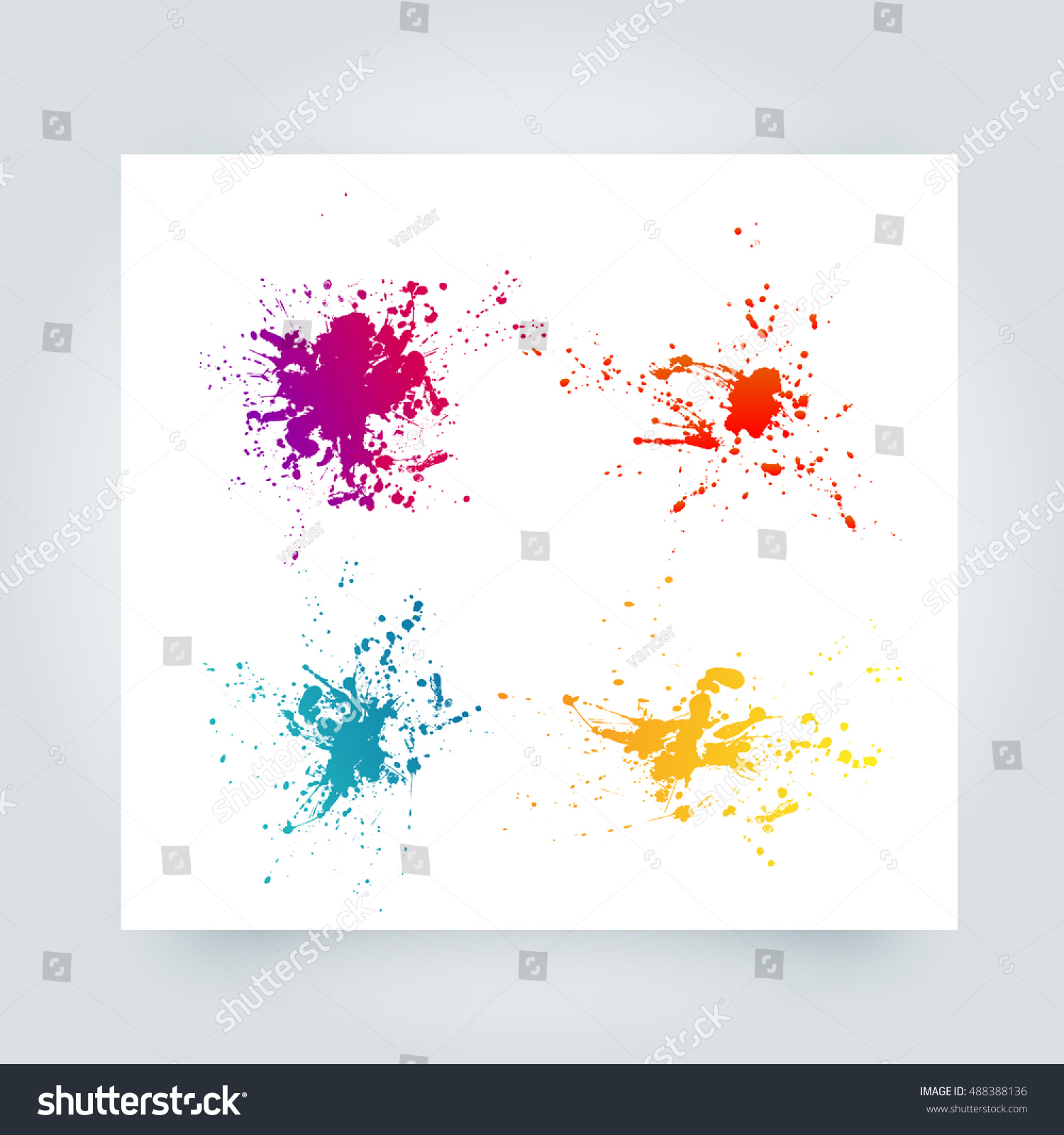 Abstract Paint Splashes Set Design Use Stock Vector (Royalty