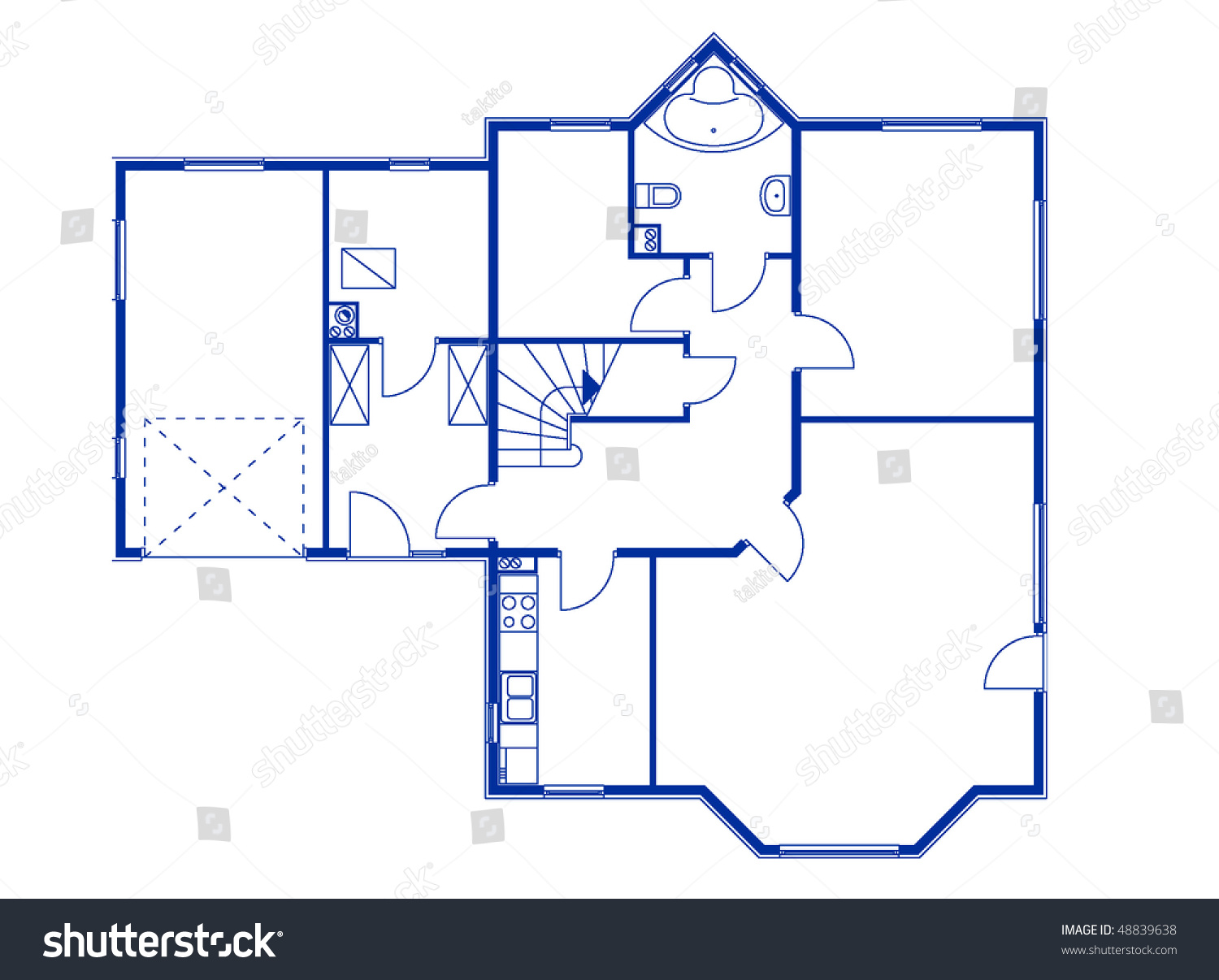 Stock Vector Architectural House Blueprint In Blue Color Ground Floor 48839638 Architectural House Blueprint Blue Color