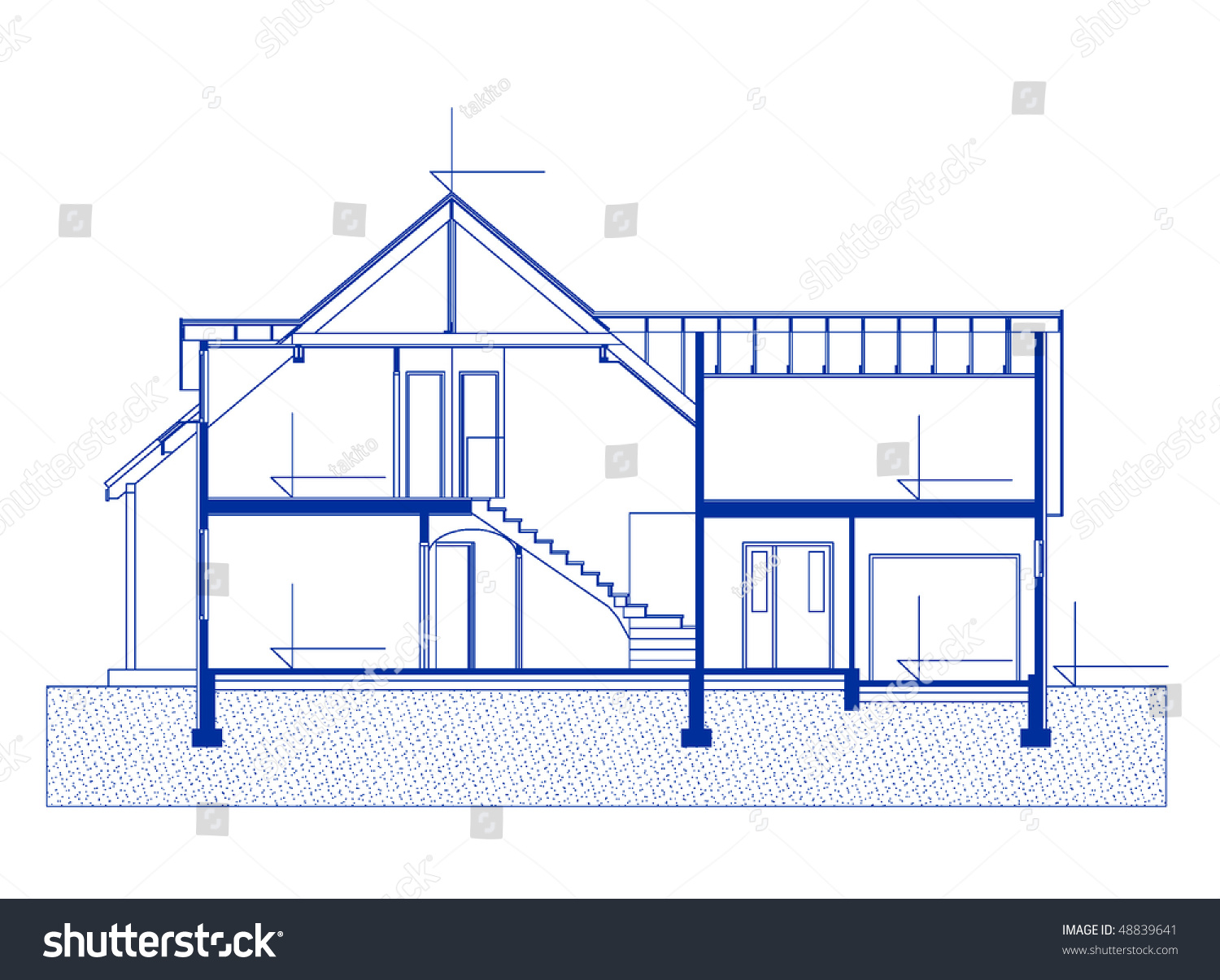 Architectural house blueprint blue color fasade stock for Architecture blueprint