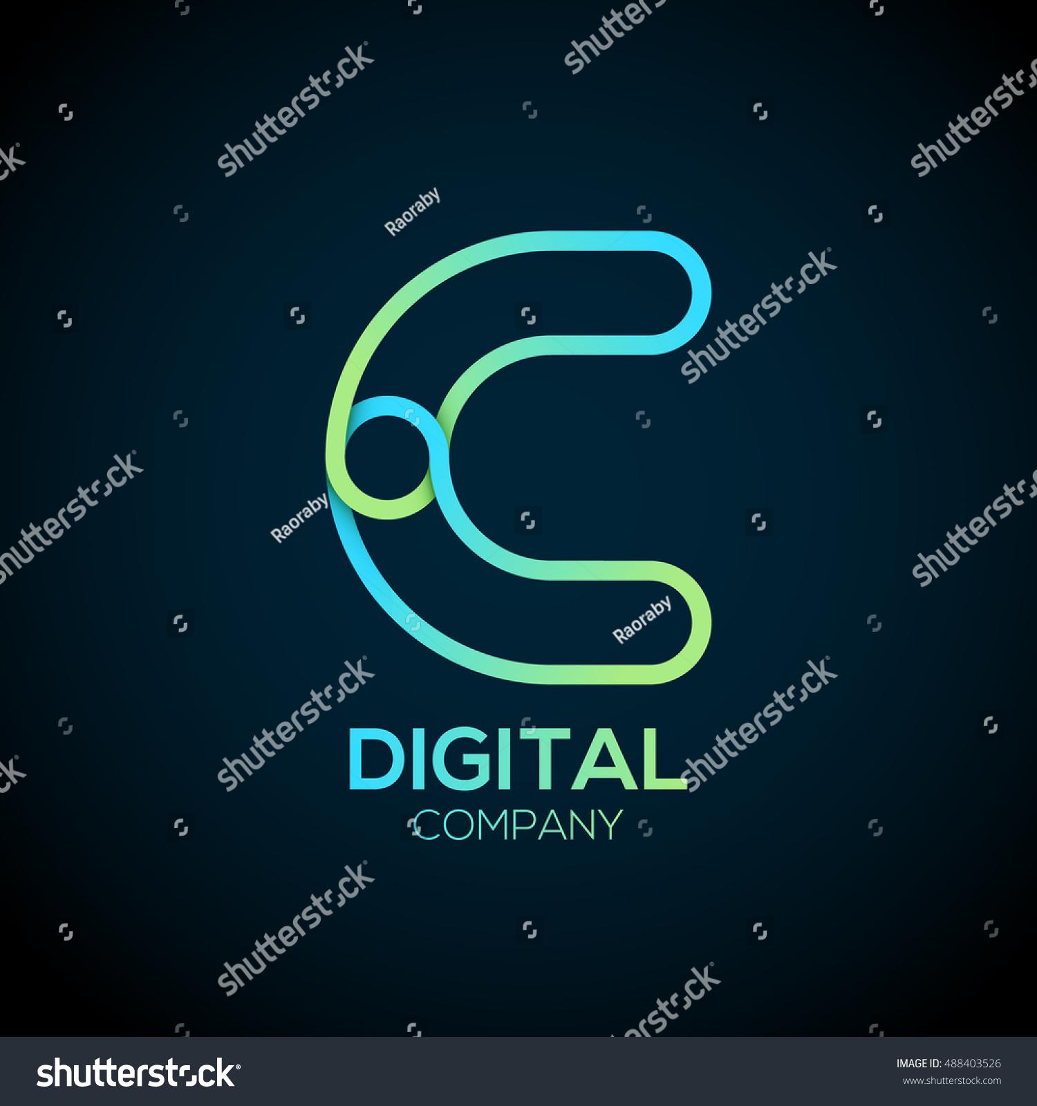 Letter c logo designlinked shape circle stock vector 488403526 letter c logo designnked shape circle symboldigitalgreen blue biocorpaavc Images