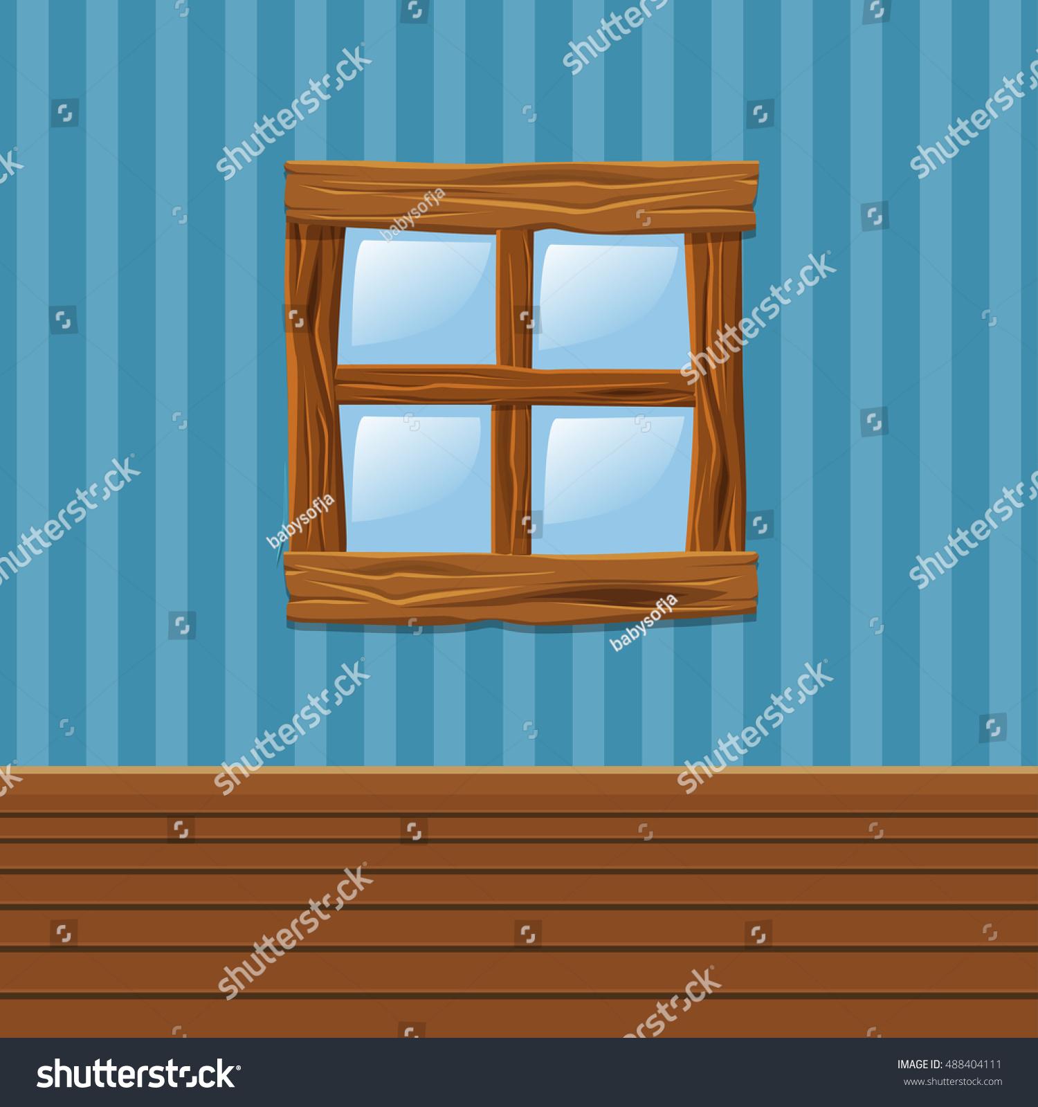 Interior wooden shelves free vector - Cartoon Wooden Old Window Home Interior In Vector