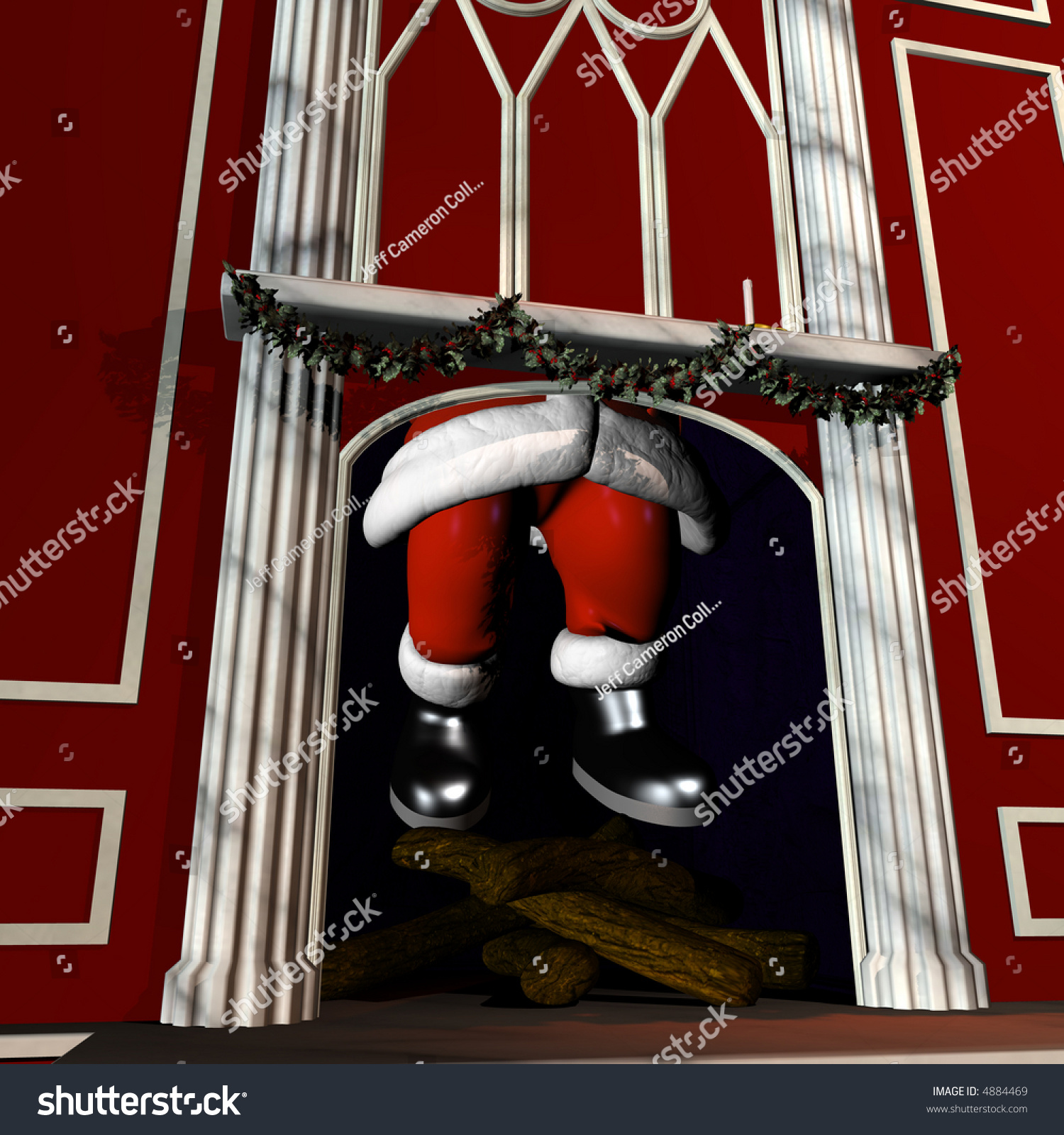Santa Coming Down A Chimney. Boots And Legs Visible In The ...