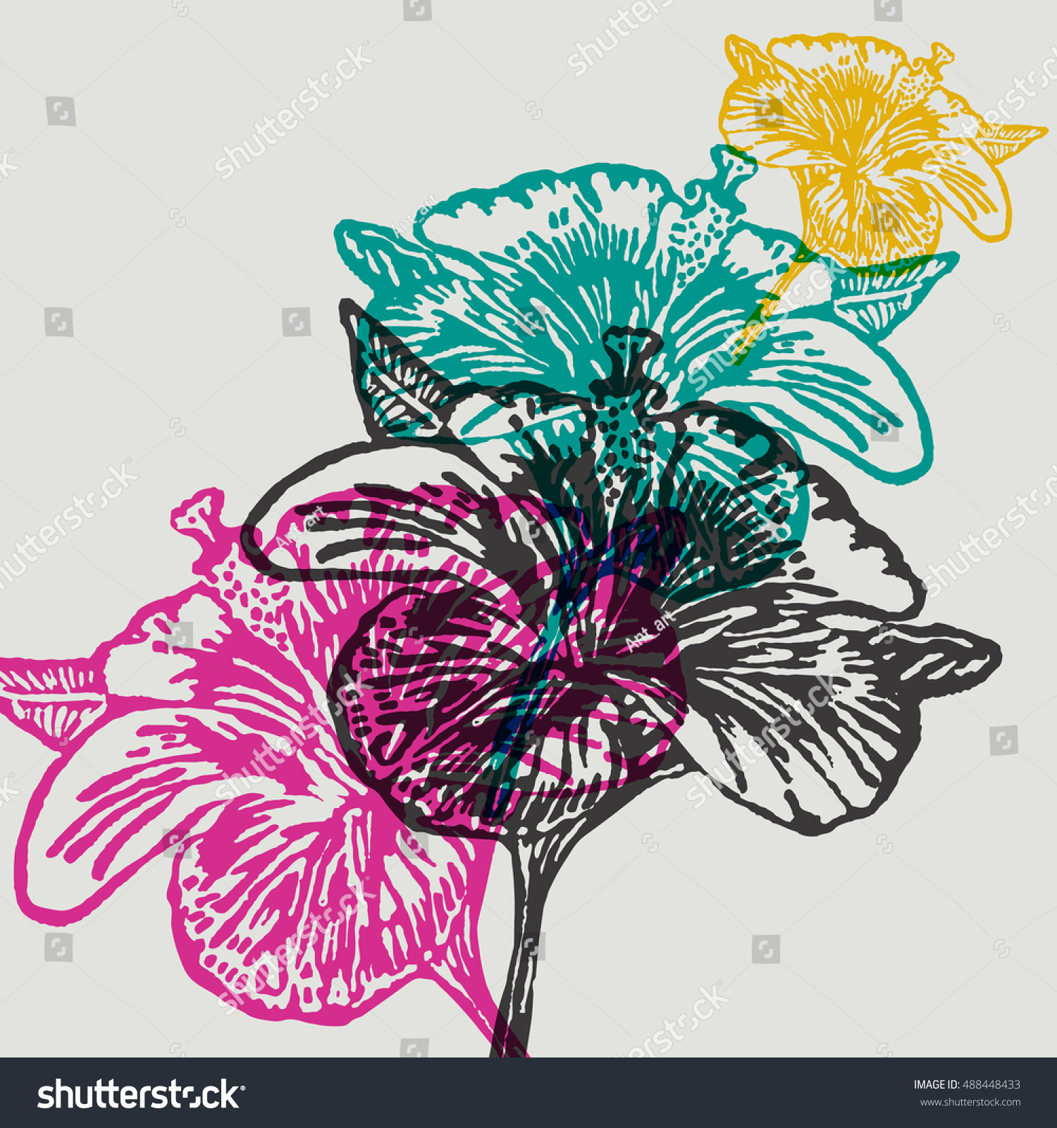 Lino Cut Hibiscus Flower On Background Vector Illustrated Hibiscus