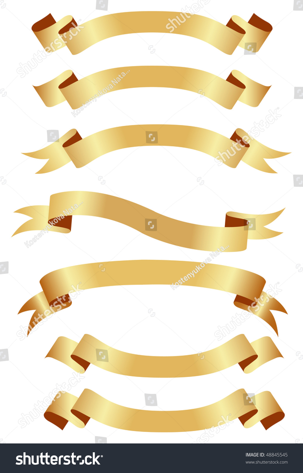 Set Golden Or Yellow Ribbon Banners Stock Vector 48845545 ...