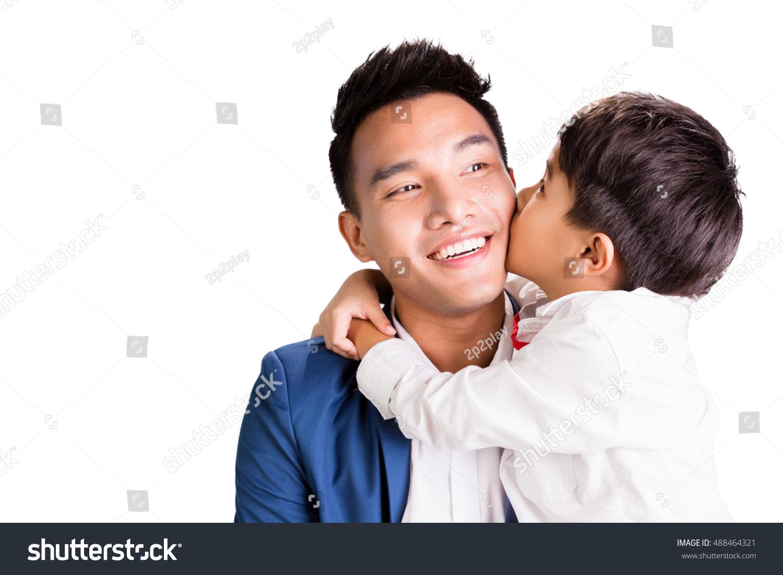 Asian boy kissing