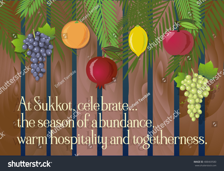 Sukkot festival greeting card design vector stock vector royalty sukkot festival greeting card design vector template sample greeting text traditional jewish sukkot holiday m4hsunfo