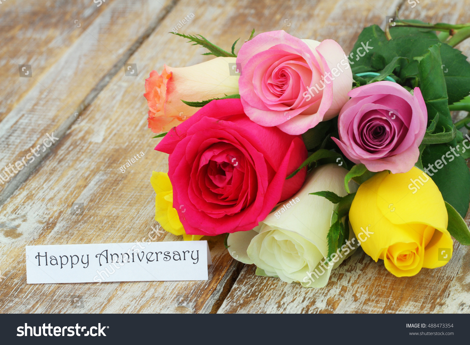 Happy anniversary card colorful bouquet roses stock photo 488473354 happy anniversary card colorful bouquet roses stock photo 488473354 shutterstock izmirmasajfo
