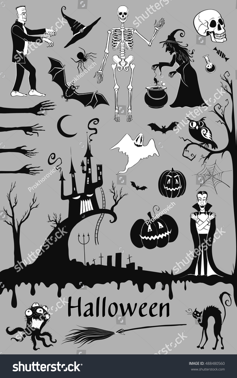 Vector set characters symbols halloween stuff stock vector vector set of characters and symbols of halloween stuff witch skeleton vampire biocorpaavc Choice Image