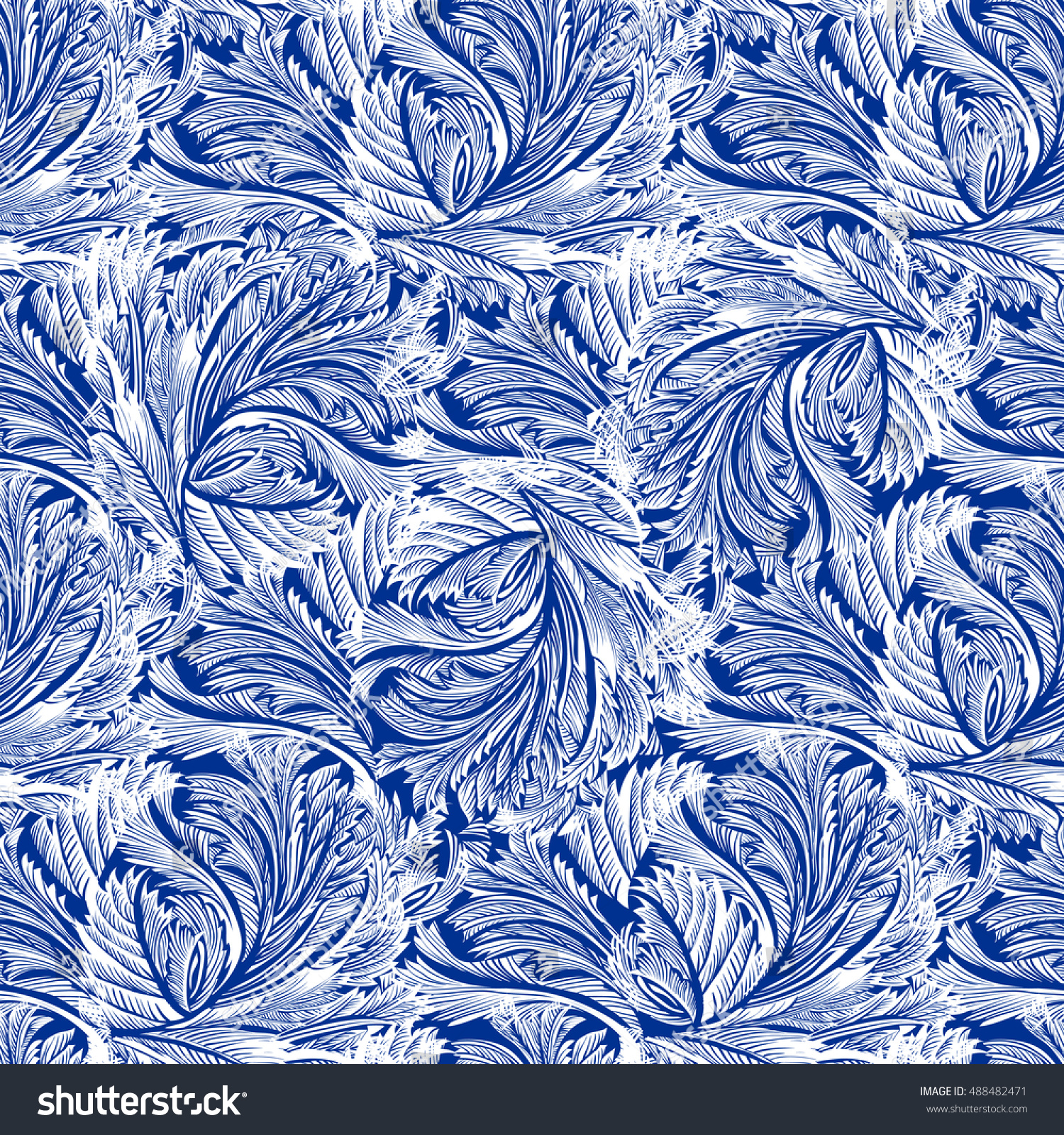 Winter Holiday Blue Frost Seamless Pattern 488482471