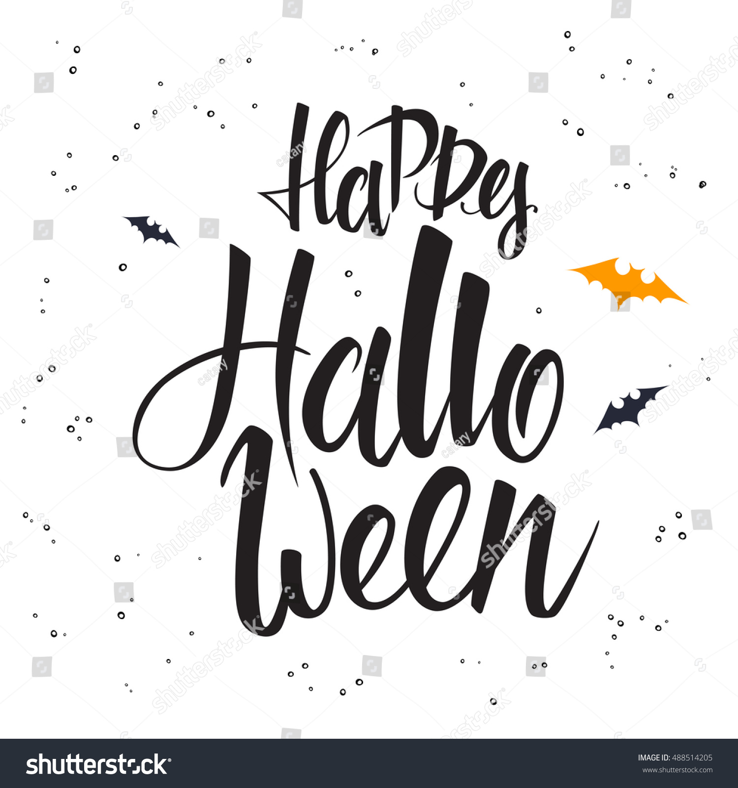 Vector hand lettering halloween greetings text stock vector royalty vector hand lettering halloween greetings text happy halloween with bat m4hsunfo