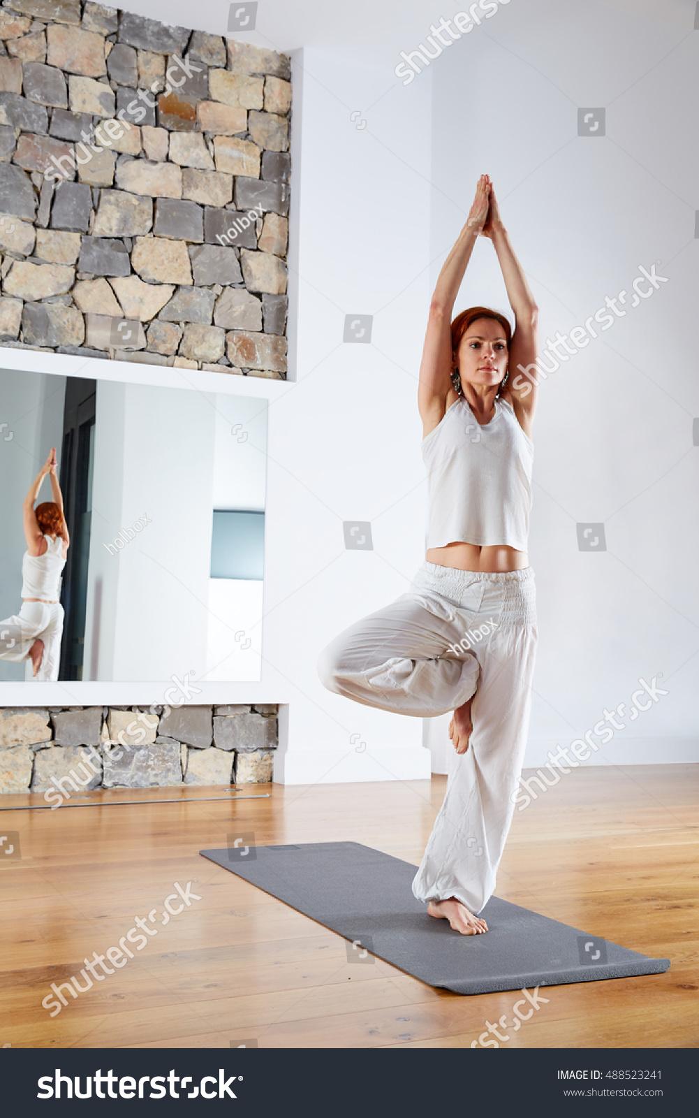 Yoga One Leg Balance Tree Pose Stock Photo Edit Now 50