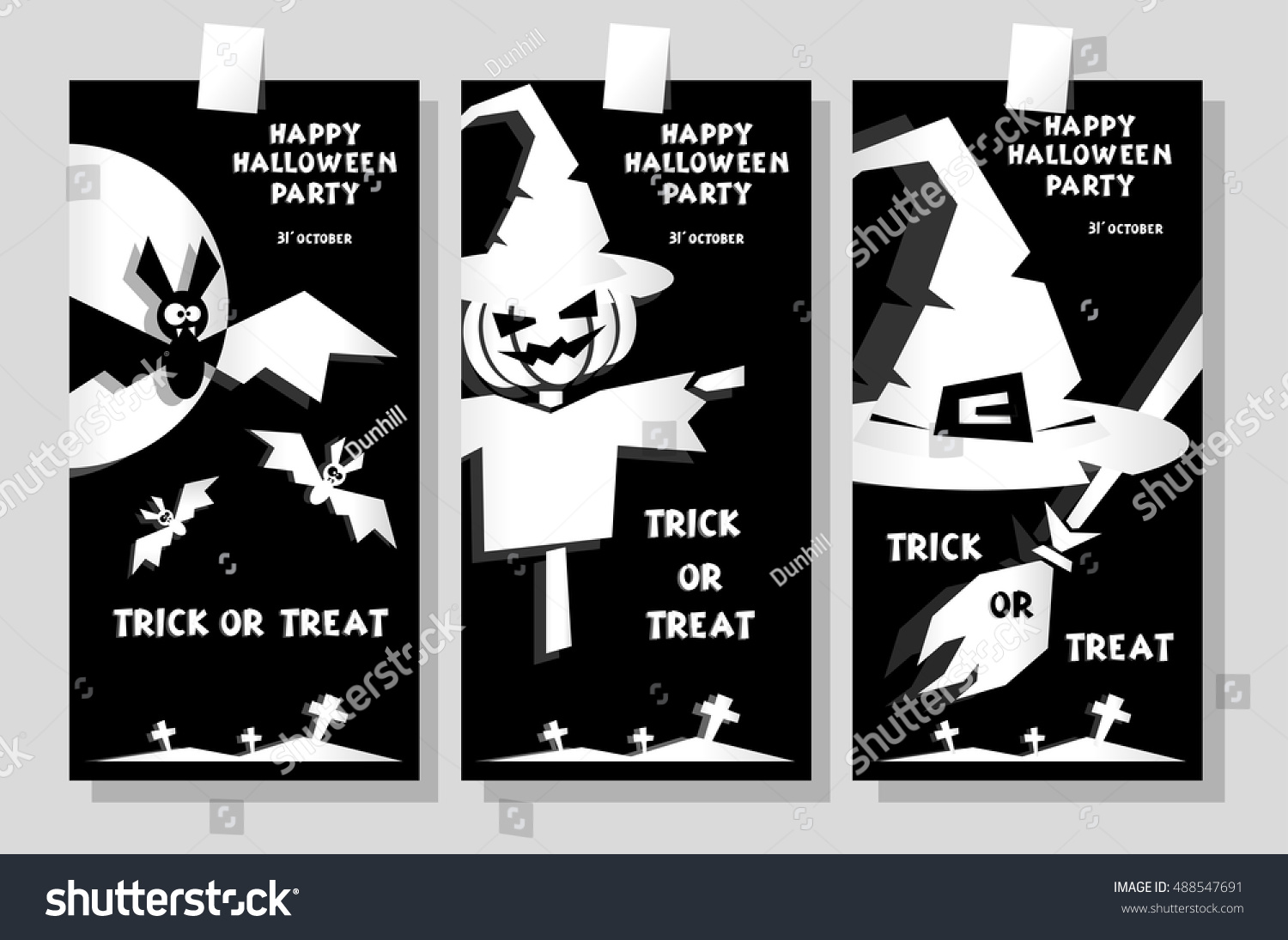 Set Funny Holiday Banner Title Happy Stock Vector 488547691 ...
