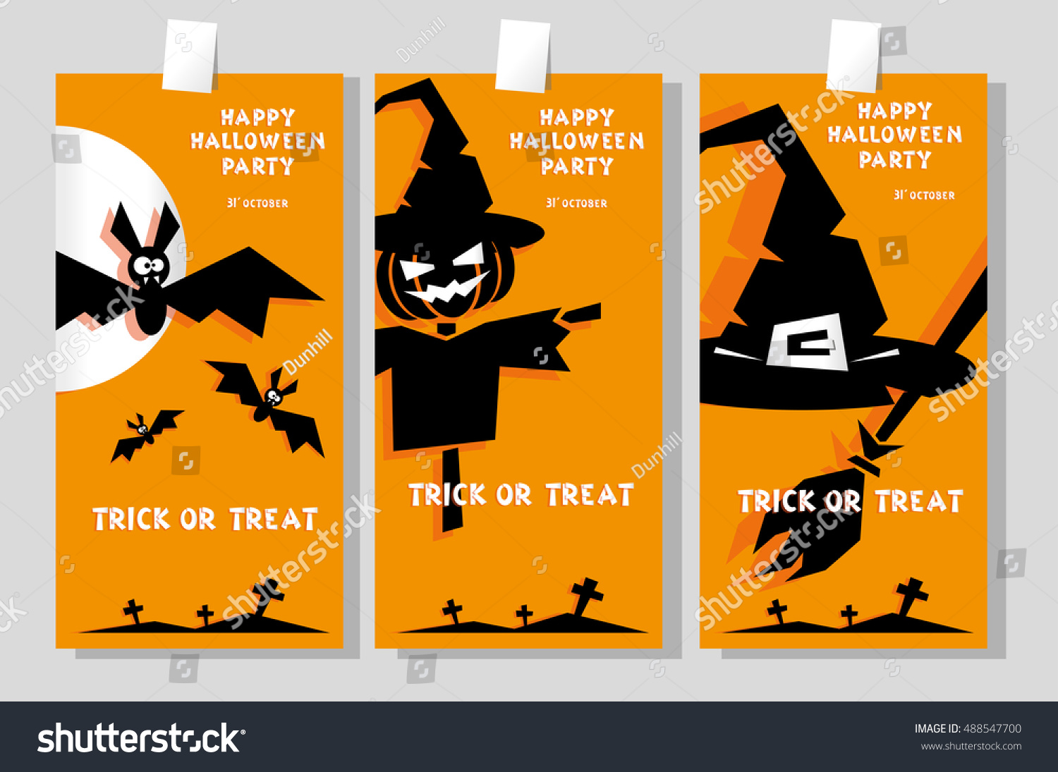 Set Funny Holiday Banner Title Happy Stock Vector 488547700 ...