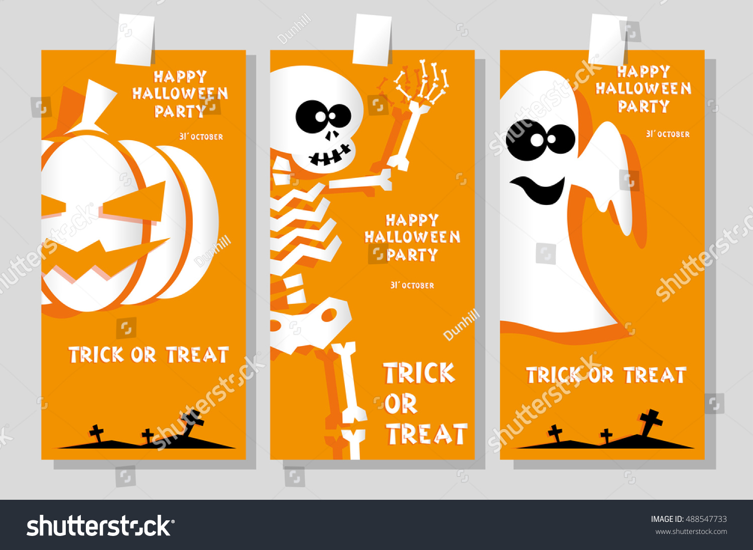 Set Funny Holiday Banner Title Happy Stock Vector 488547733 ...
