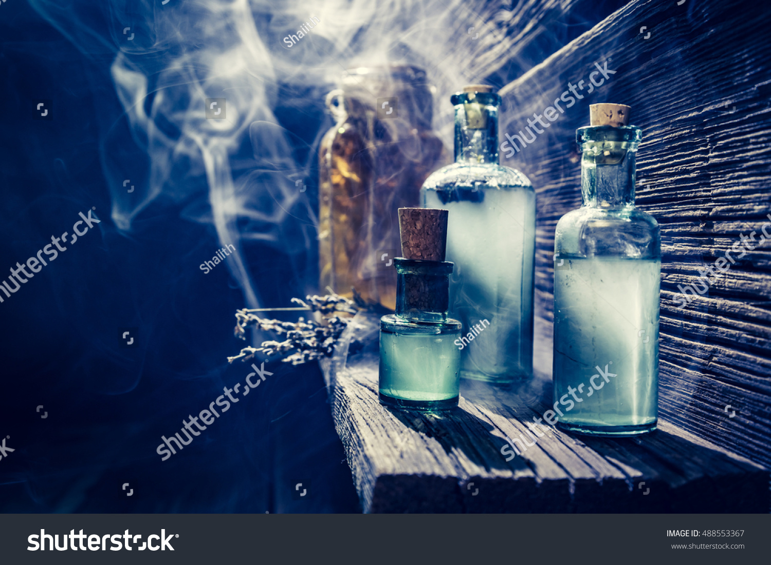 Magical Witch Lab Blue Light Potion Stock Photo (Edit Now) 488553367 ...