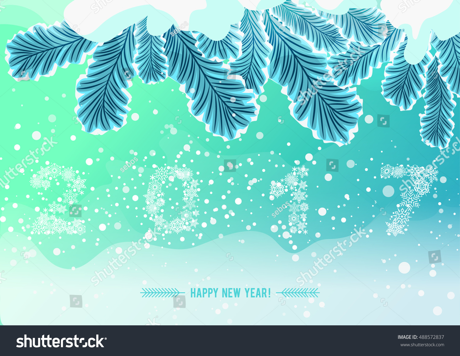snowflake figures 2017 on snow frozen tree branch holiday illustration for happy new year