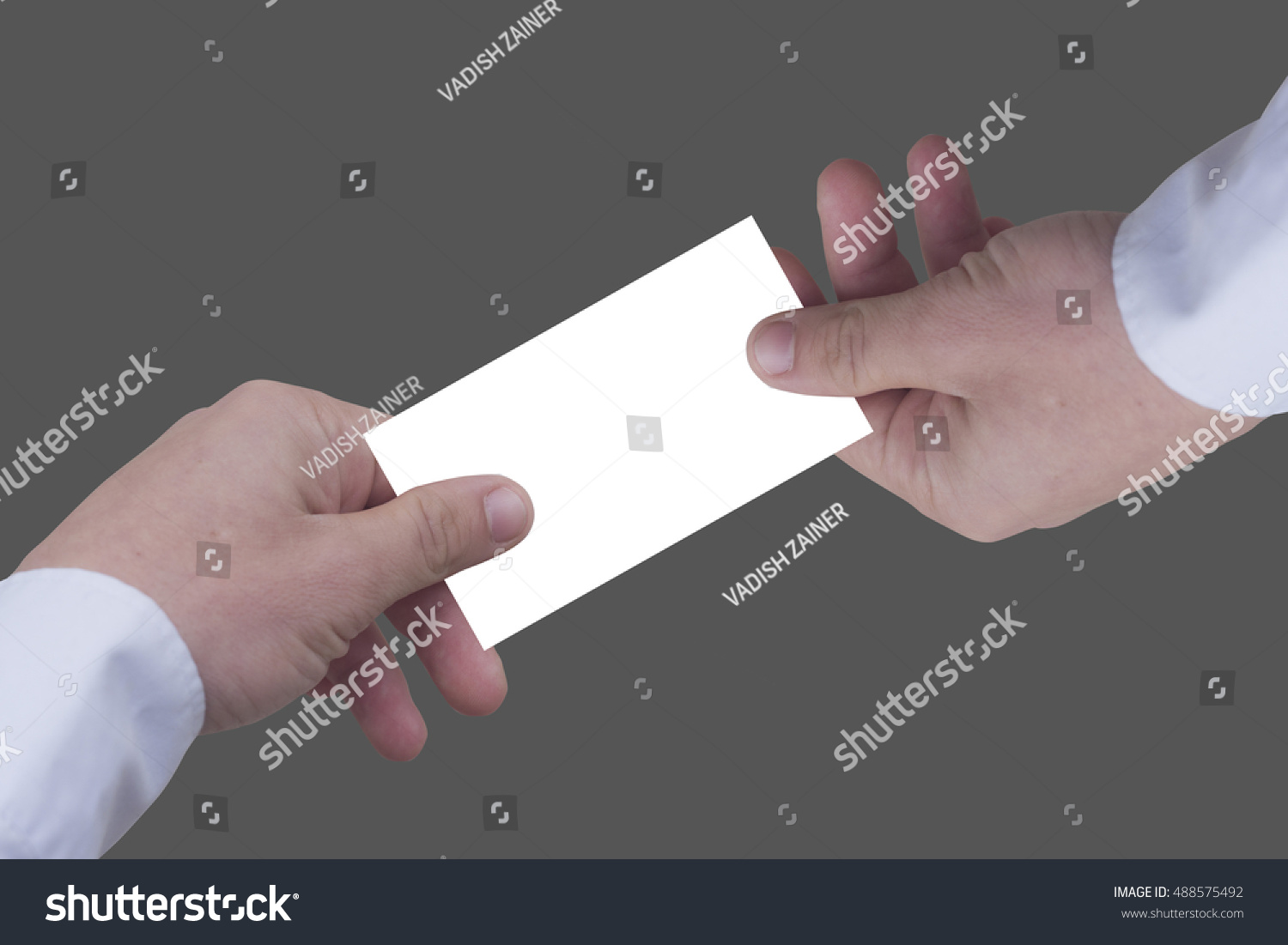 Business Card Hand the Guy Shirt Holding Stock Photo 488575492 ...