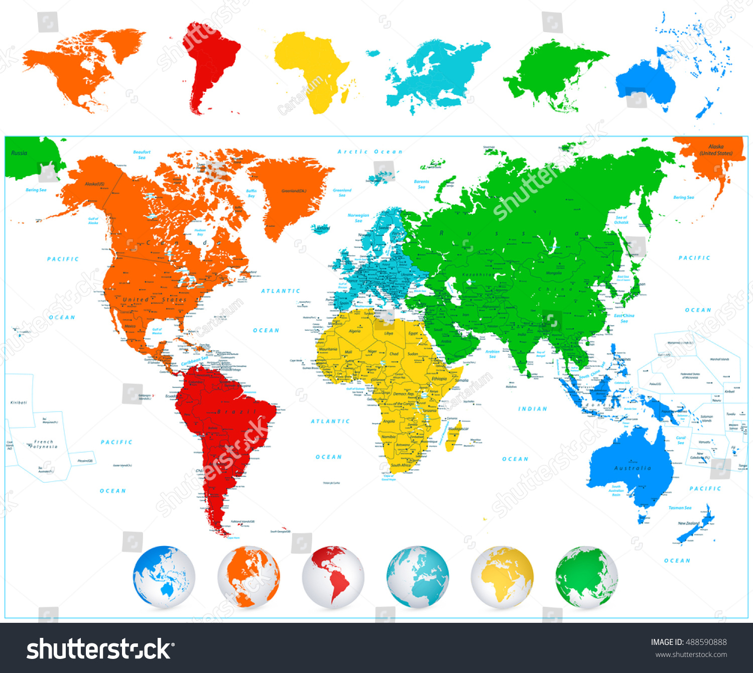 Detailed vector world map colorful continents stock vector 488590888 detailed vector world map with colorful continents political boundaries country names and 3d globes gumiabroncs Images