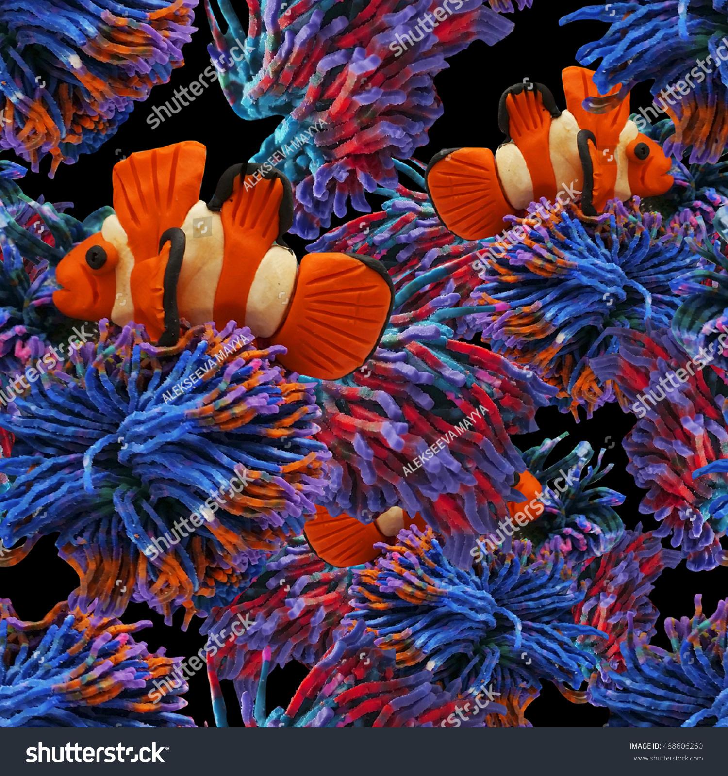 Clown Fish Among Seaweed Anemones Pattern Stock Illustration ...