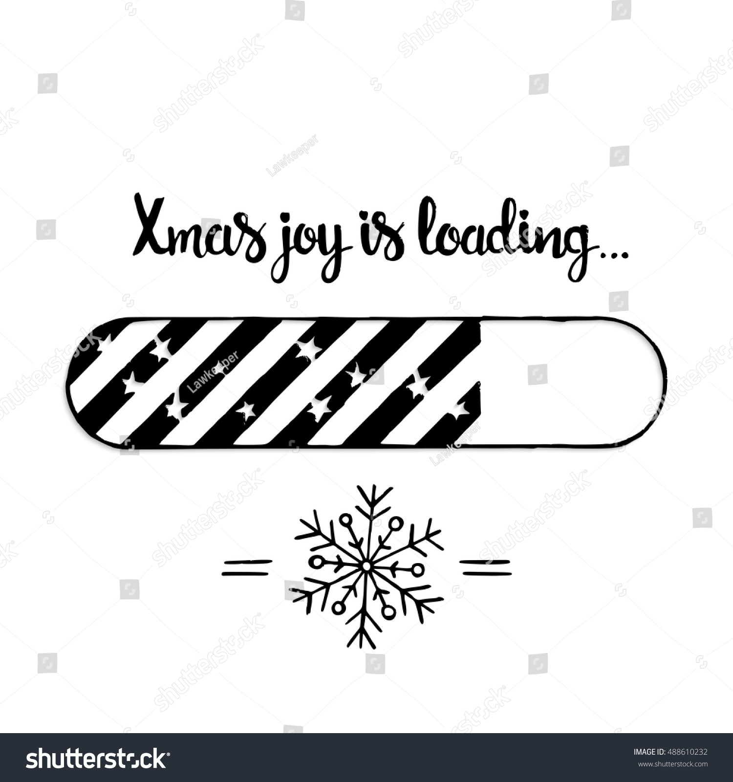 xmas joy is loading lettering modern vector hand drawn calligraphy with christmas snowflake and loading