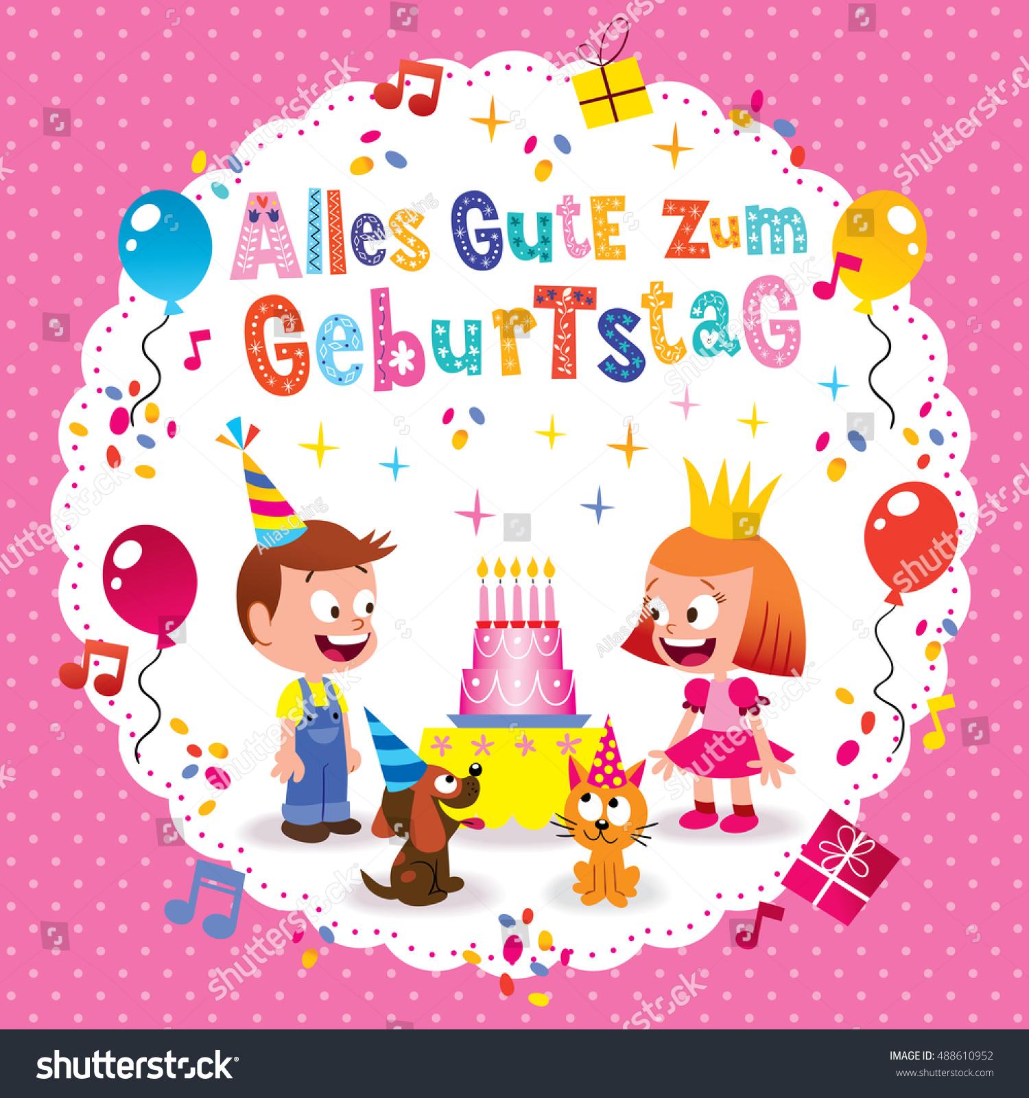 Alles gute zum geburtstag deutsch german stock vector royalty free alles gute zum geburtstag deutsch german happy birthday greeting card with little boy and girl puppy m4hsunfo