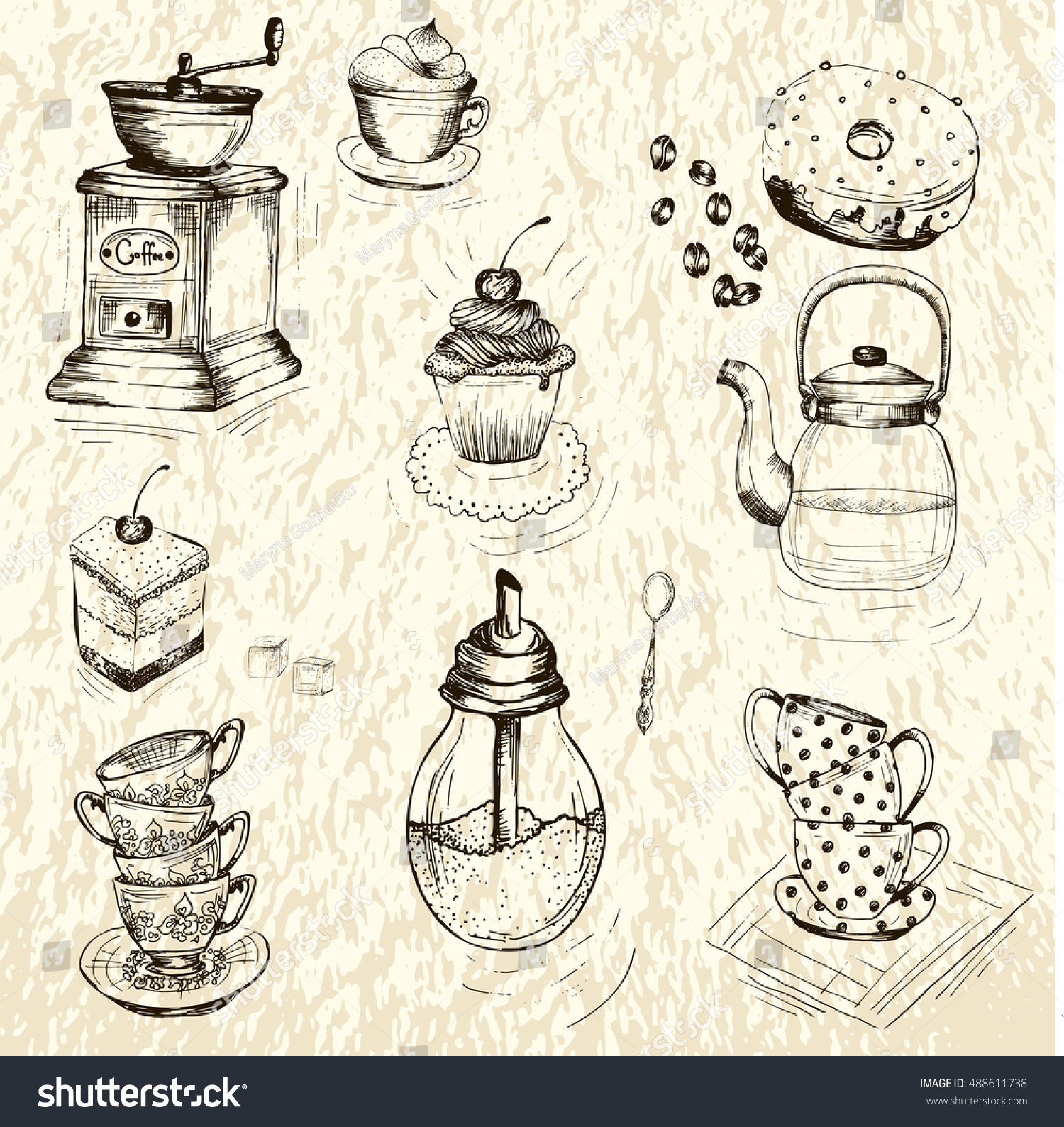 Collection of hand drawn sketches on the theme of tea and coffee coffee grinder