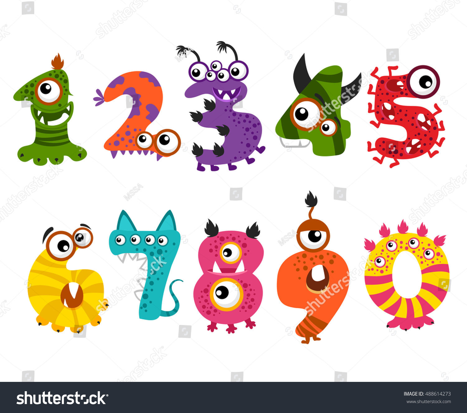 Funny Cute Monster Numbers Halloween Party Stock Vector 488614273 ...