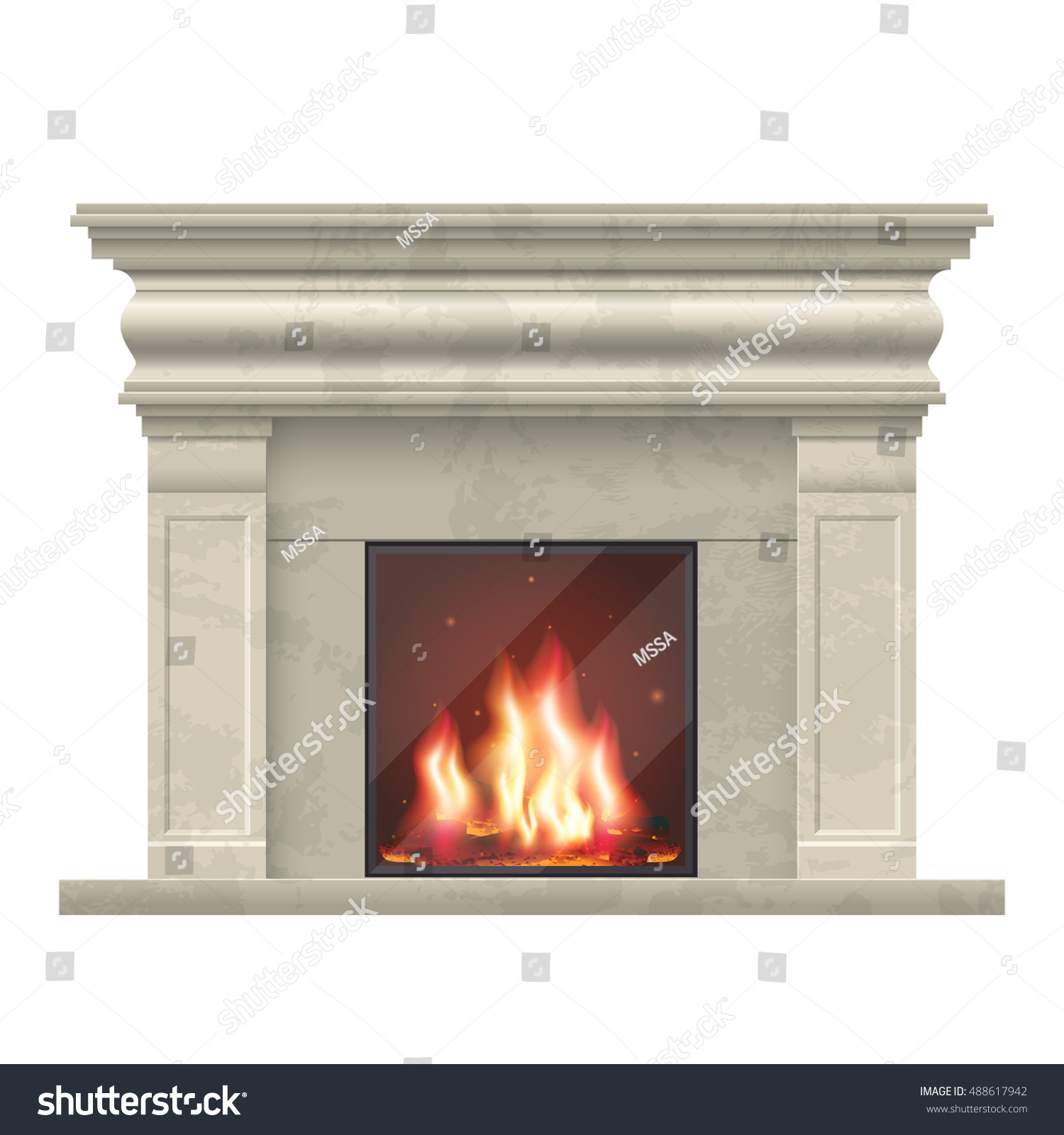 vector classic fireplace living room interior stock vector