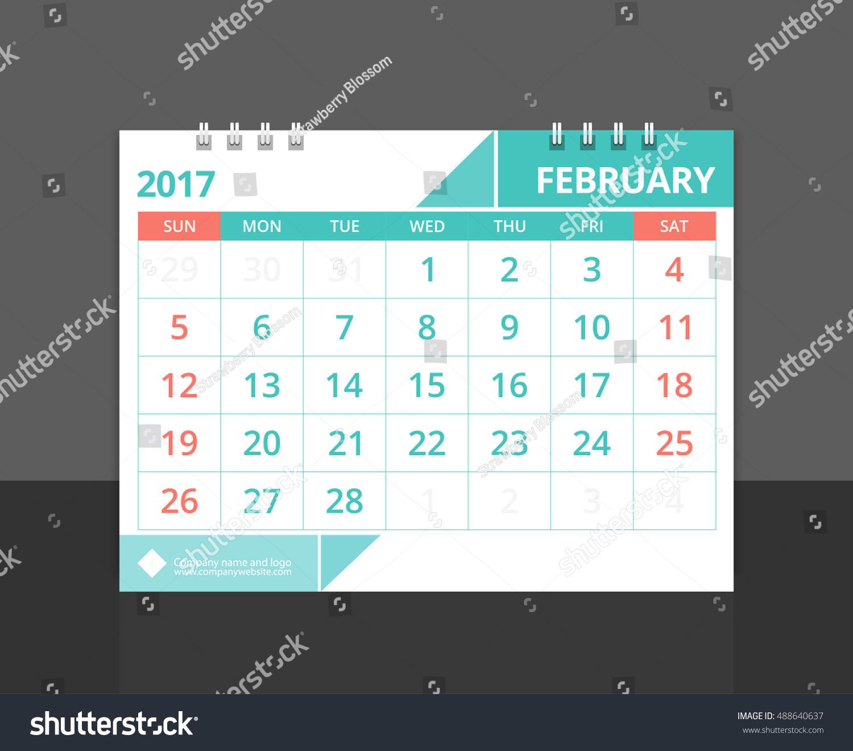 Corporate Calendar 2017 : Desk calendar february design layout stock vector
