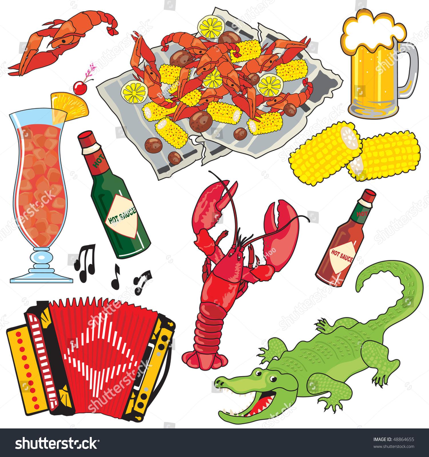 Cajun Food Music Drinks Clipart Icons Stock-Vektorgrafik (Lizenzfrei ...