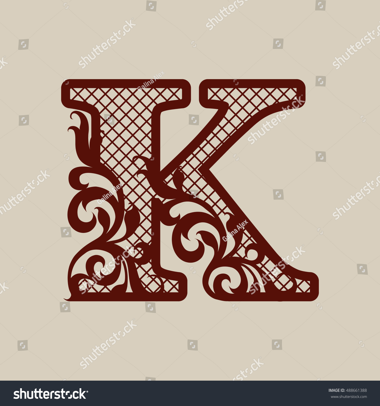Royalty-free The letter K. Elegant monogram. Carved… #488661388 ...
