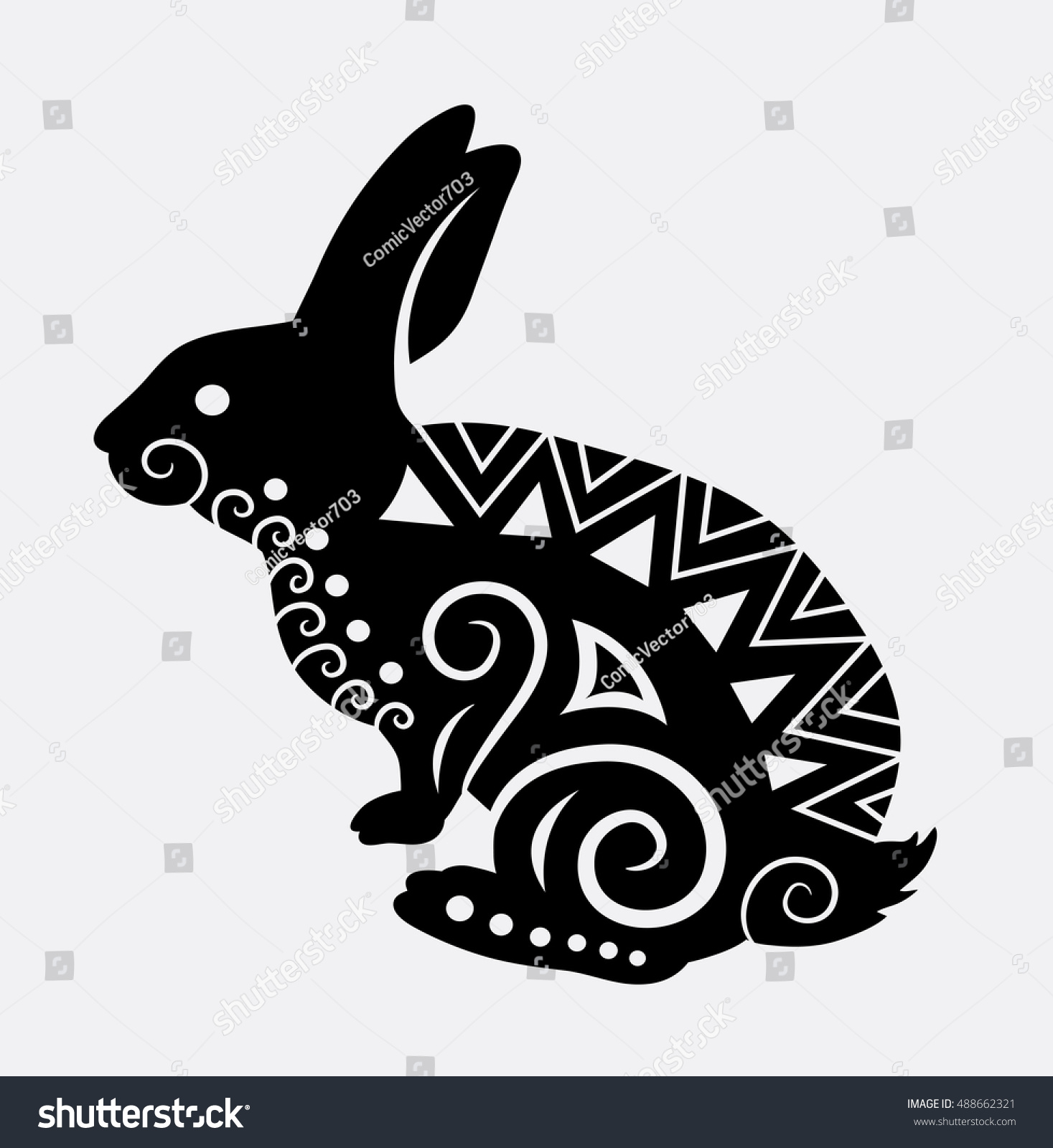 Stock vector ethnic animal doodle detail pattern killer whale - Rabbit Pet Animal With Curl Ornament Decoration Good Use For Symbol Web Icon