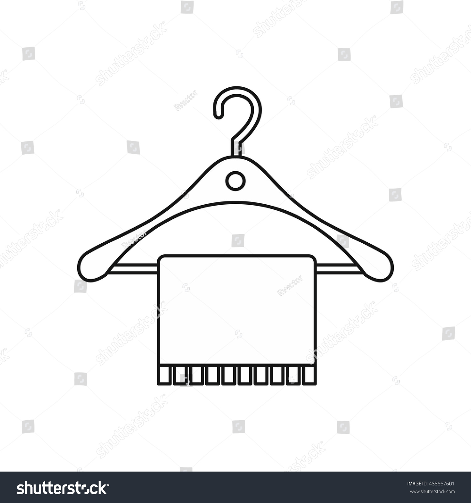 Bathroom Sign Vector Style hanger towel icon outline style isolated stock vector 488667601