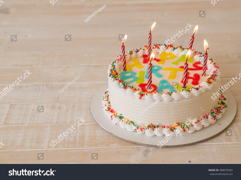 Happy Birthday Cake On Table Stock Photo Edit Now 488679283